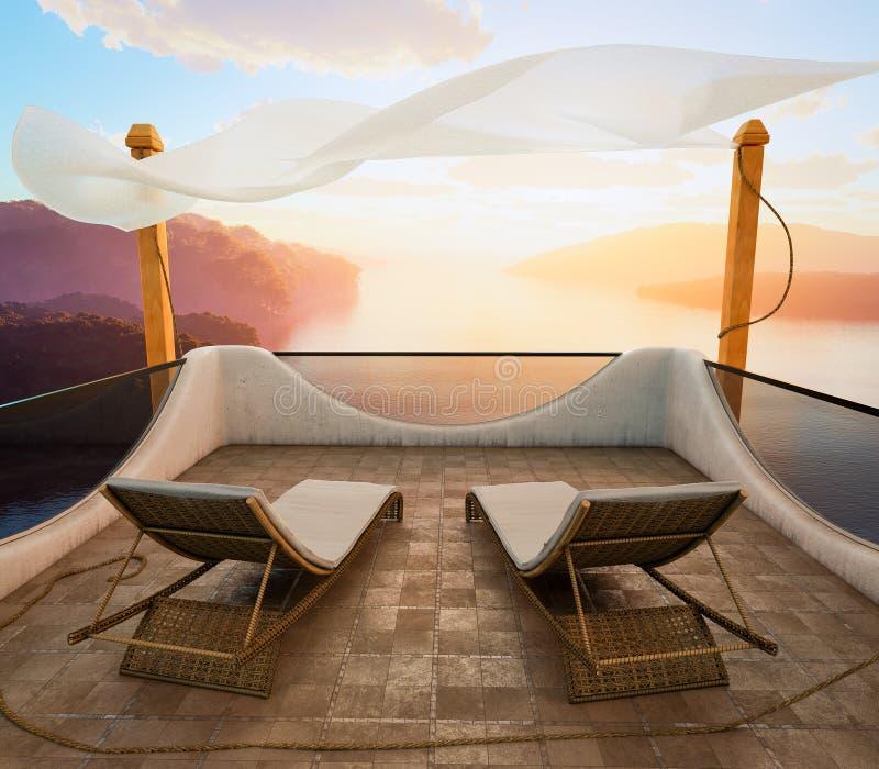 Μπαλκόνι με την έννοια διακοπών απόψεων θάλασσας και δύο καρεκλών στοκ εικόνες