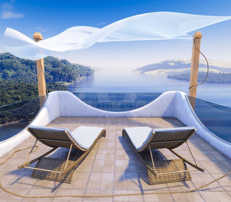 Μπαλκόνι με το υπόβαθρο έννοιας διακοπών απόψεων θάλασσας και δύο καρεκλών στοκ εικόνα με δικαίωμα ελεύθερης χρήσης