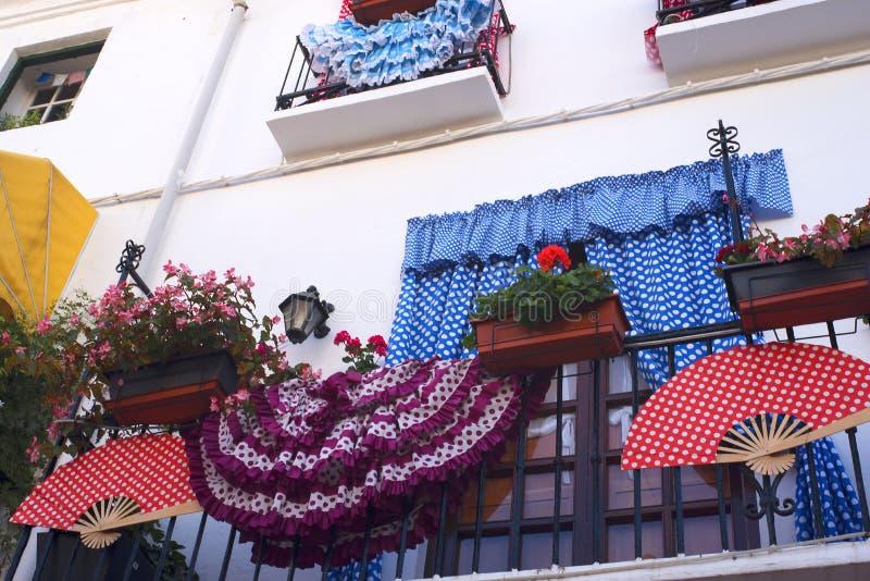 Μπαλκόνι στην παλαιά πόλη Marbella στο Κόστα ντελ Σολ Ανδαλουσία, Ισπανία στοκ εικόνες