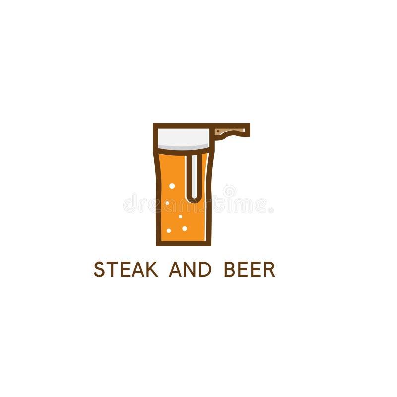 Μπαλτάς και ένα γυαλί του διανυσματικού σχεδίου μπύρας απεικόνιση αποθεμάτων