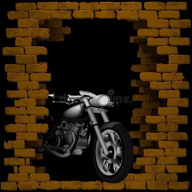 Μπαλτάς, μοτοσικλέτα στο σπάσιμο του τουβλότοιχος διανυσματική απεικόνιση