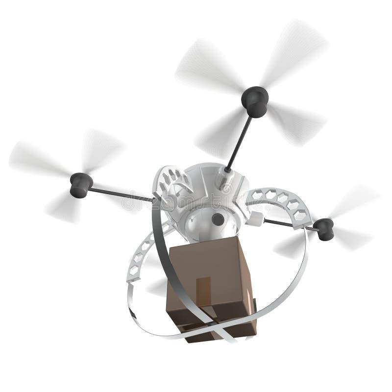 Μπαλτάς ρομπότ που παραδίδει μια συσκευασία διανυσματική απεικόνιση