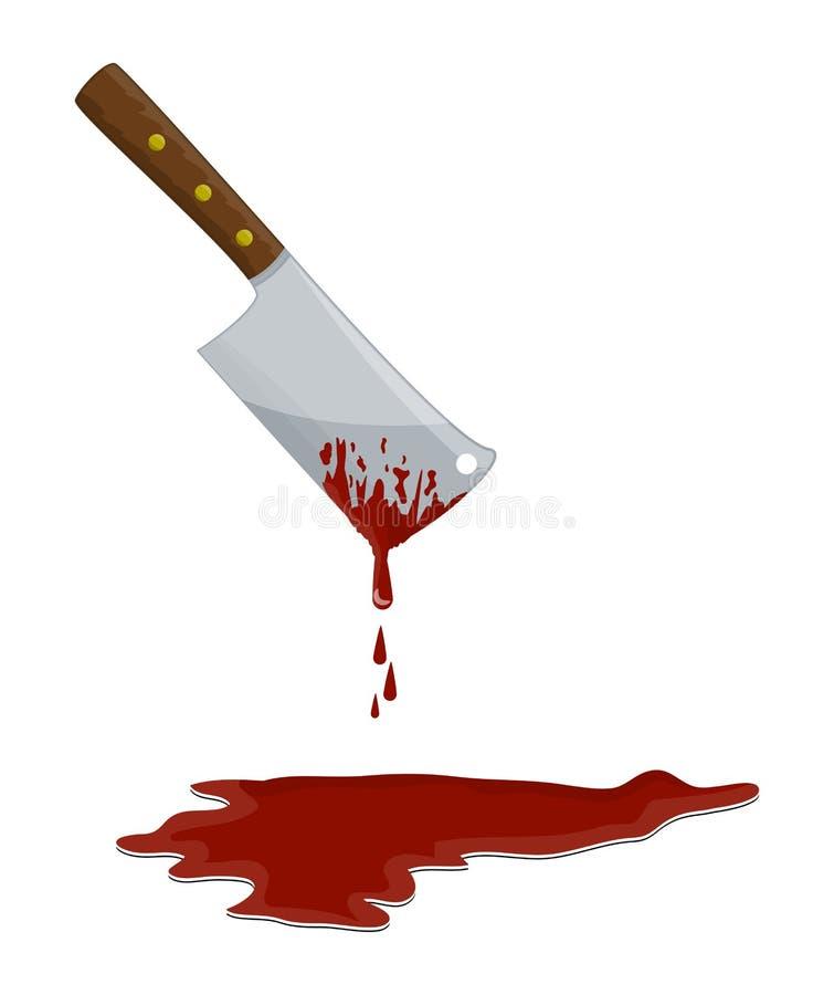 Μπαλτάς χασάπηδων κουζινών με το σχέδιο εικονιδίων συμβόλων αίματος απεικόνιση αποθεμάτων