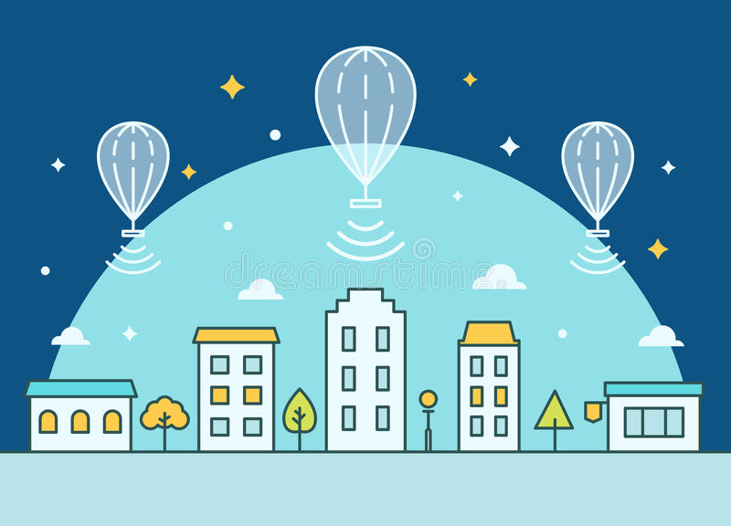 Μπαλόνια Διαδικτύου που επιπλέουν επάνω από την πόλη Παροχή της απεικόνισης πρόσβασης Διαδικτύου απεικόνιση αποθεμάτων