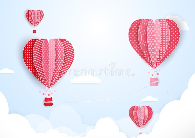 Μπαλόνια ζεστού αέρα στη μορφή της καρδιάς που πετά στα σύννεφα Τέχνη εγγράφου διανυσματική απεικόνιση