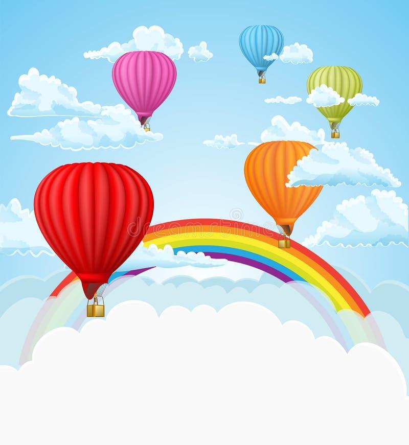 Μπαλόνια ζεστού αέρα στο υπόβαθρο σύννεφων επίσης corel σύρετε το διάνυσμα απεικόνισης διανυσματική απεικόνιση