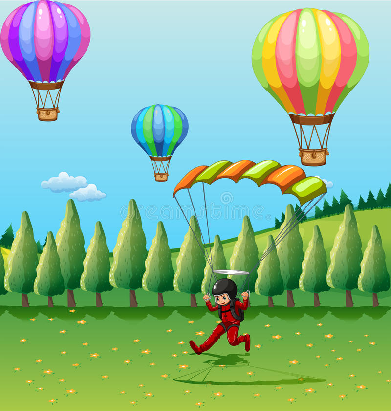 Μπαλόνια και αλεξίπτωτο ελεύθερη απεικόνιση δικαιώματος