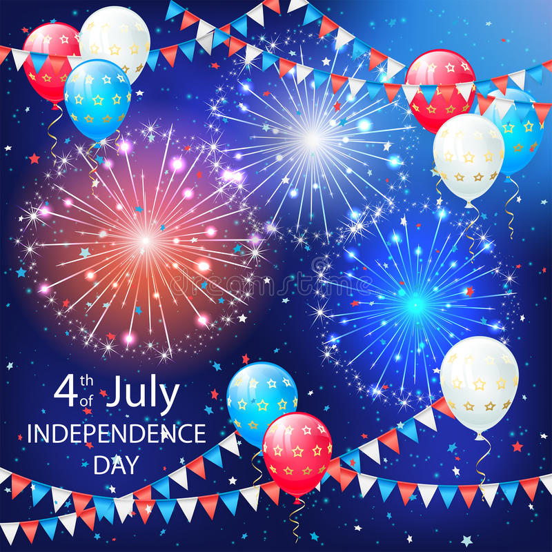 Μπαλόνια και πυροτεχνήματα στο υπόβαθρο ημέρας της ανεξαρτησίας διανυσματική απεικόνιση
