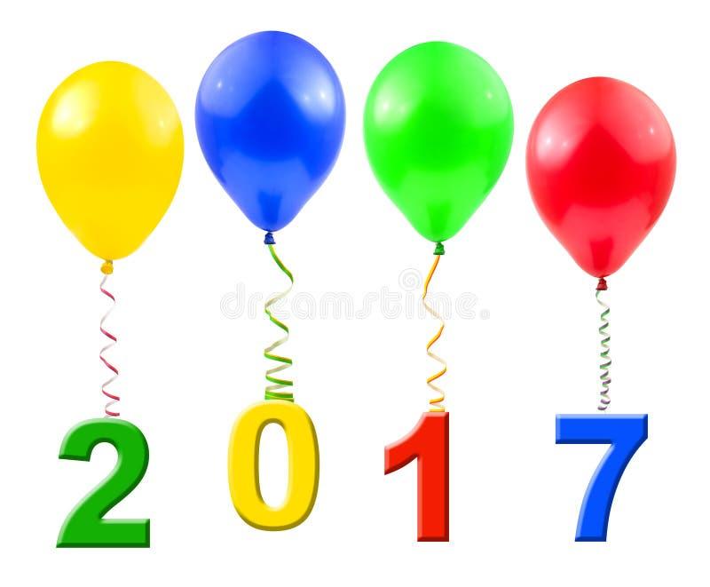 Μπαλόνια και 2017 στοκ φωτογραφίες με δικαίωμα ελεύθερης χρήσης