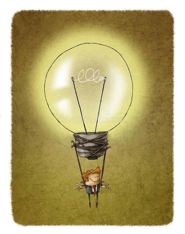 Μπαλόνι αέρα λαμπών φωτός με έναν επιχειρηματία που κρεμά από το ελεύθερη απεικόνιση δικαιώματος