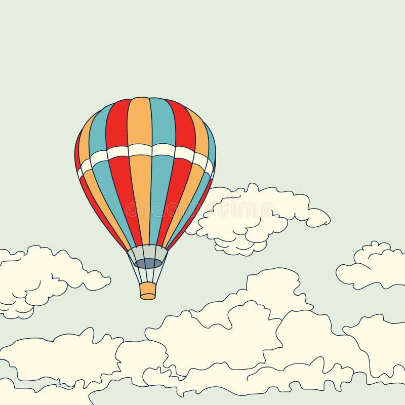 Μπαλόνι αέρα που πετά στο διάνυσμα σύννεφων διανυσματική απεικόνιση