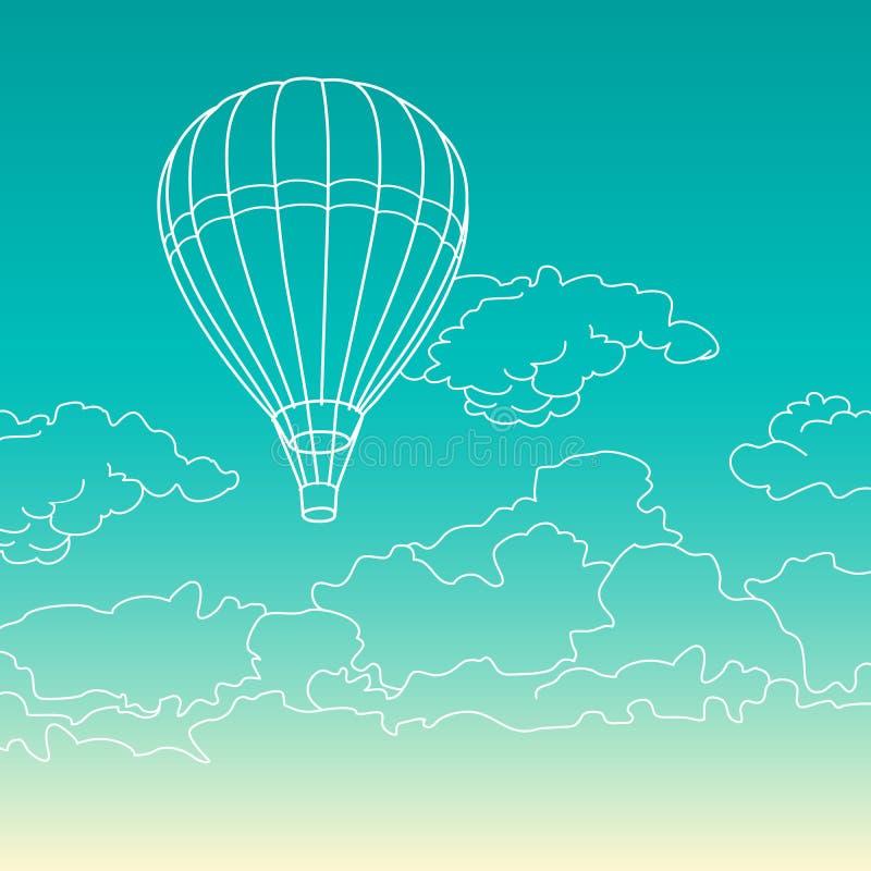 Μπαλόνι αέρα που πετά στο διάνυσμα σύννεφων απεικόνιση αποθεμάτων
