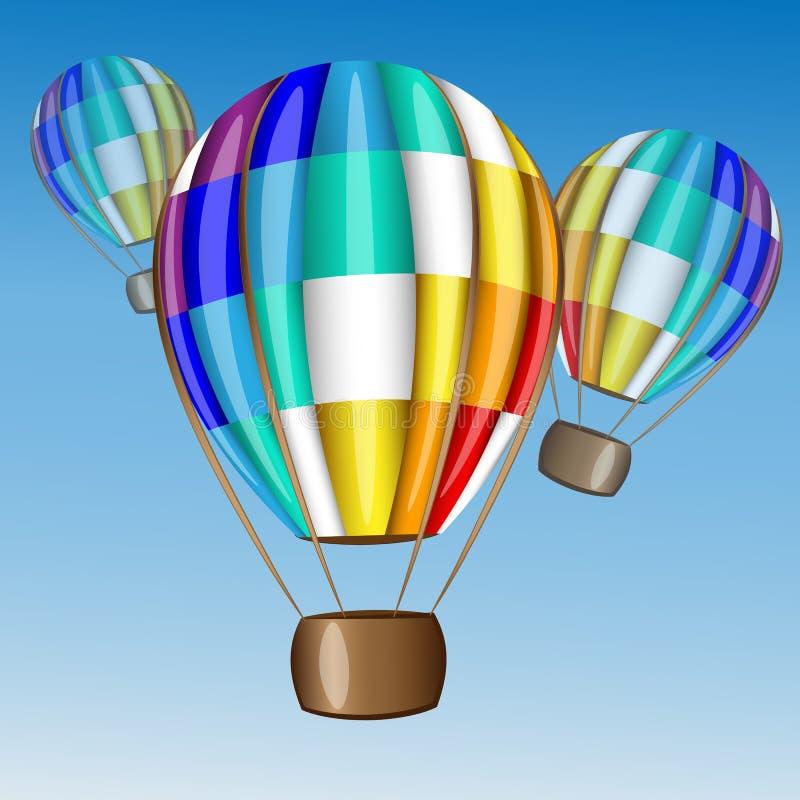 Μπαλόνι ζεστού αέρα που πετά στον ουρανό απεικόνιση αποθεμάτων