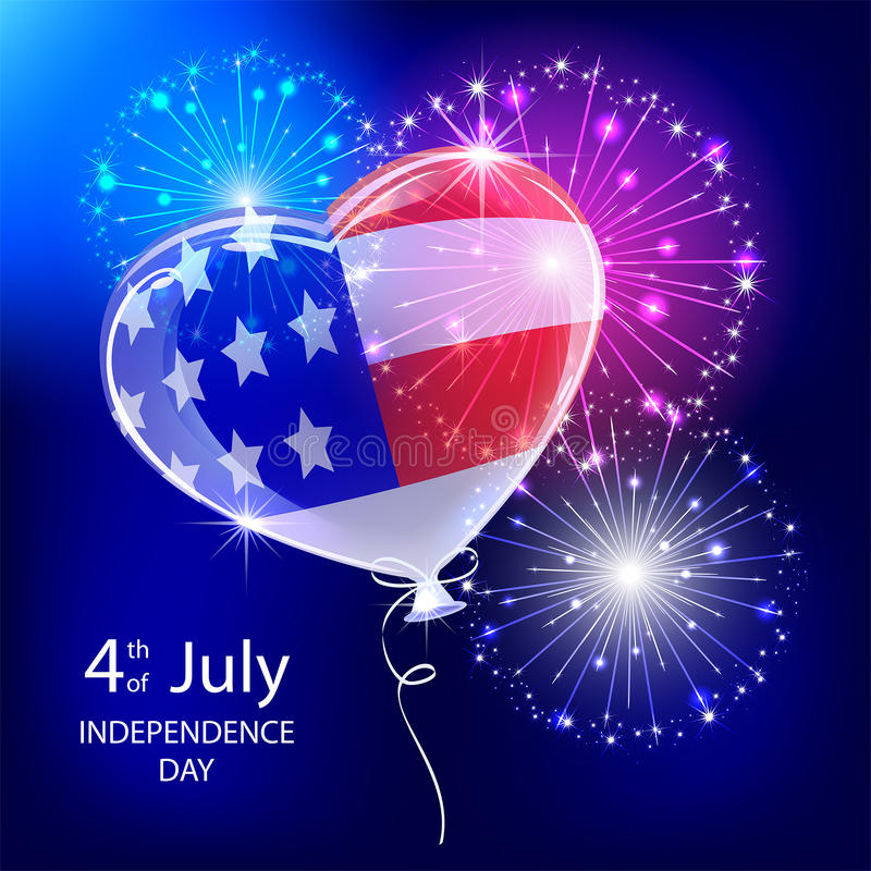 Μπαλόνι και πυροτέχνημα ημέρας της ανεξαρτησίας απεικόνιση αποθεμάτων