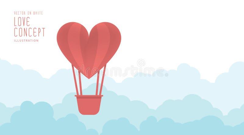 Μπαλόνι καρδιών που επιπλέει στον ουρανό ελεύθερα και το επίπεδο διάνυσμα σύννεφων απεικόνιση αποθεμάτων