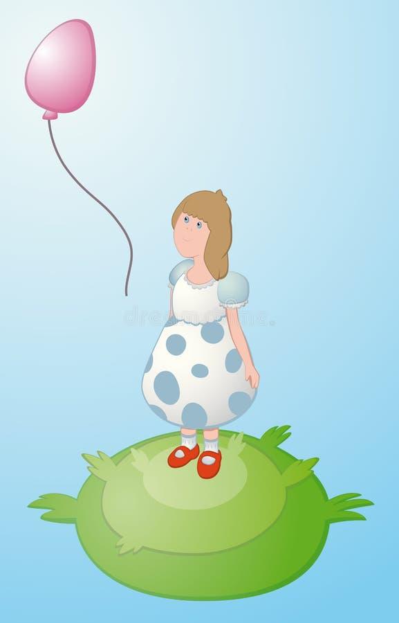 Μπαλόνι κοριτσιών και μυγών στοκ εικόνα με δικαίωμα ελεύθερης χρήσης