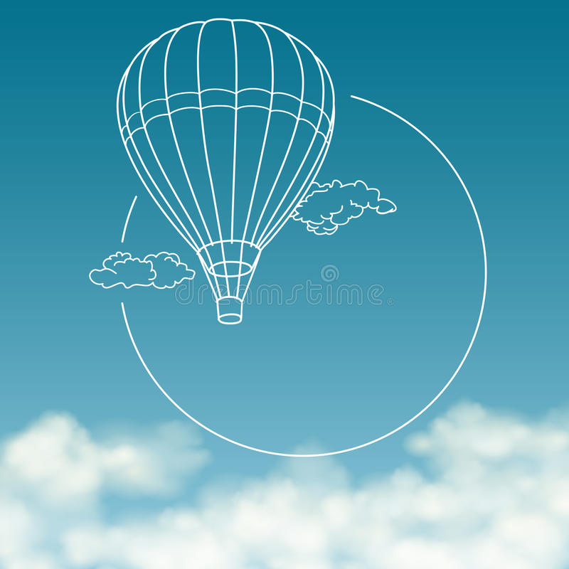 Μπαλόνι στο υπόβαθρο του νεφελώδους ουρανού με το διάστημα για διανυσματική απεικόνιση