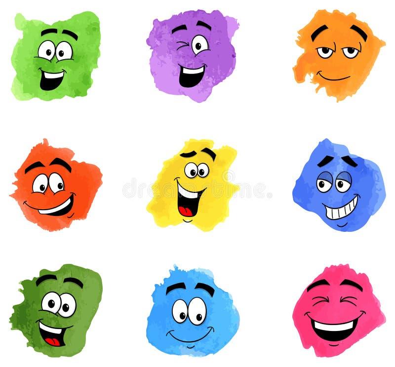 Μπαλώματα χρώματος με τα συναισθηματικά πρόσωπα διανυσματική απεικόνιση