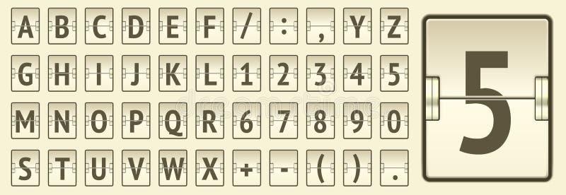 Μπεζ αλφάβητο και αριθμοί πινάκων βαθμολογίας αερολιμένων μηχανικοί στην αναχώρηση επίδειξης ή τη διανυσματική απεικόνιση πληροφο απεικόνιση αποθεμάτων
