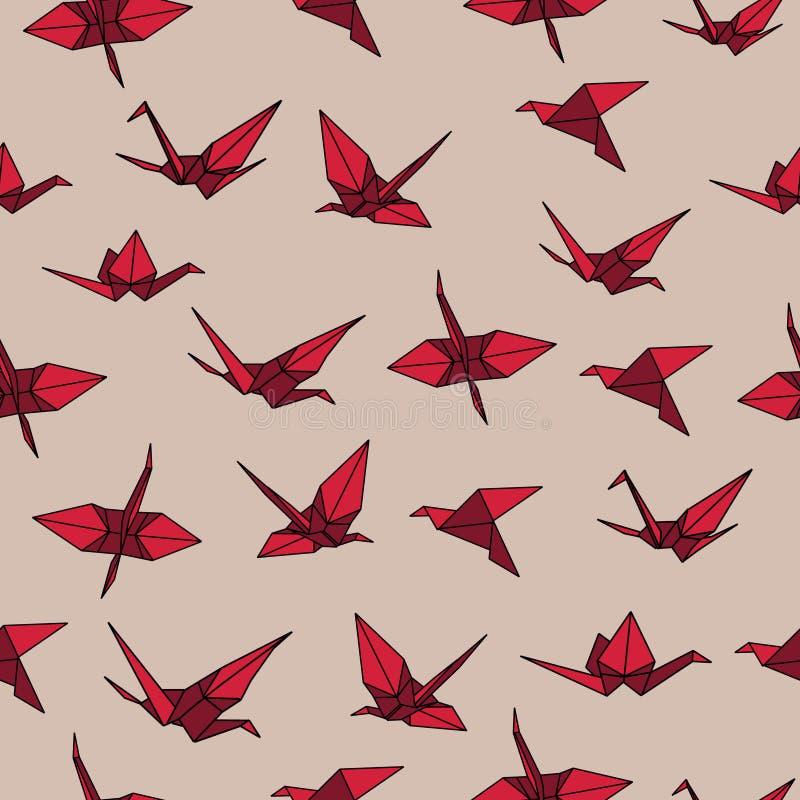 Μπεζ και κόκκινο άνευ ραφής διανυσματικό σχέδιο origami γερανών απεικόνιση αποθεμάτων