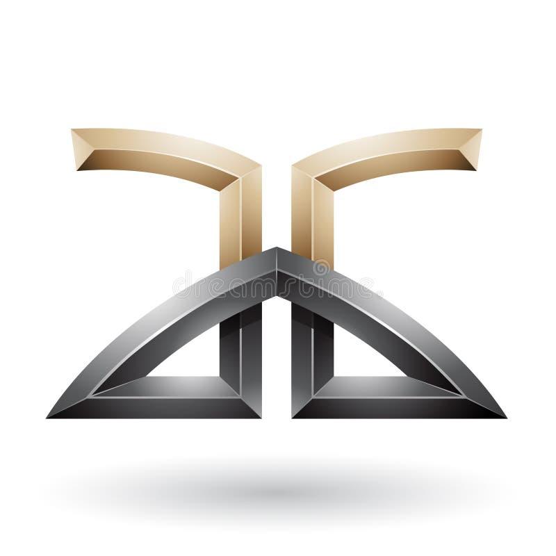 Μπεζ και μαύρες γεφυρωμένες αποτυπωμένες σε ανάγλυφο επιστολές του Α και του Γ διανυσματική απεικόνιση