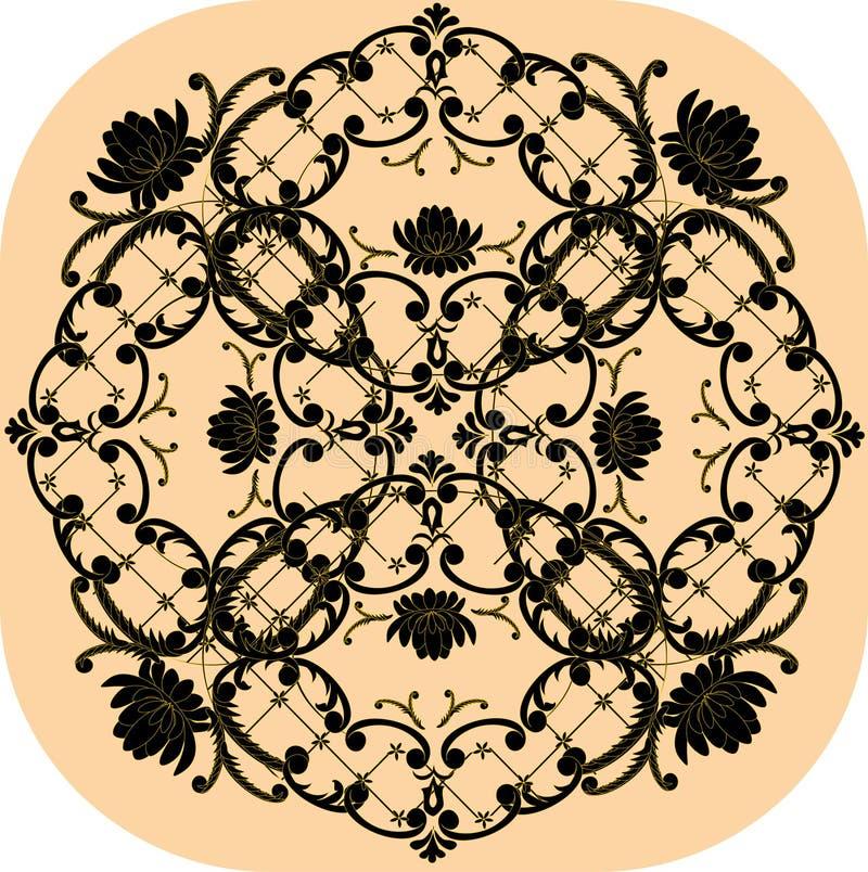 μπεζ μαύρο floral τετράγωνο σχ&epsilo διανυσματική απεικόνιση