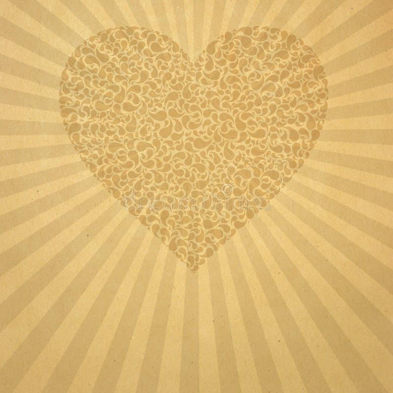 μπεζ παλαιό έγγραφο καρδ&iot απεικόνιση αποθεμάτων