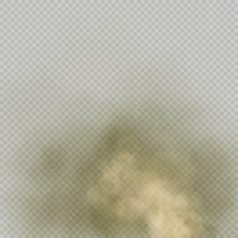 Μπεζ σκόνη ή σκόνη επίδρασης στο διαφανές υπόβαθρο Ξηρά εδαφολογική έκρηξη Το καφετί μόριο καπνού αναδίνει στον αέρα 10 eps διανυσματική απεικόνιση