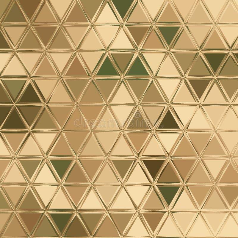 Μπεζ σχέδιο κάλυψης τριγώνων στα χρώματα κρητιδογραφιών: πράσινος, χακί, καφετής, ελεφαντόδοντο διανυσματική απεικόνιση