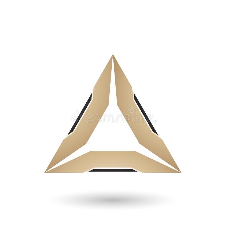 Μπεζ τρίγωνο με τη μαύρη διανυσματική απεικόνιση ακρών ελεύθερη απεικόνιση δικαιώματος