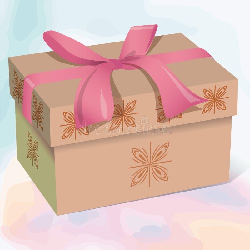 Μπεζ όμορφο κιβώτιο δώρων με ένα ρόδινο τόξο διανυσματική απεικόνιση