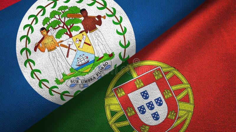 Μπελίζ και Πορτογαλία δύο υφαντικό ύφασμα σημαιών, σύσταση υφάσματος απεικόνιση αποθεμάτων