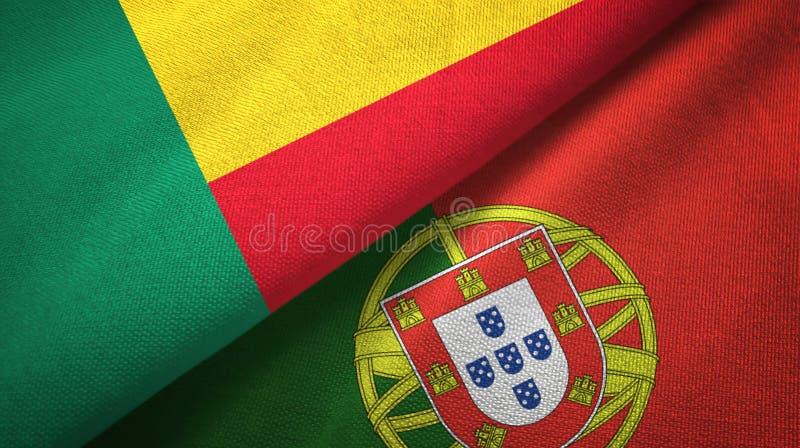 Μπενίν και Πορτογαλία δύο υφαντικό ύφασμα σημαιών, σύσταση υφάσματος απεικόνιση αποθεμάτων