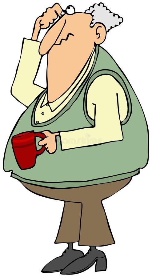 Μπερδεμένος ηληκιωμένος με ένα φλυτζάνι καφέ απεικόνιση αποθεμάτων