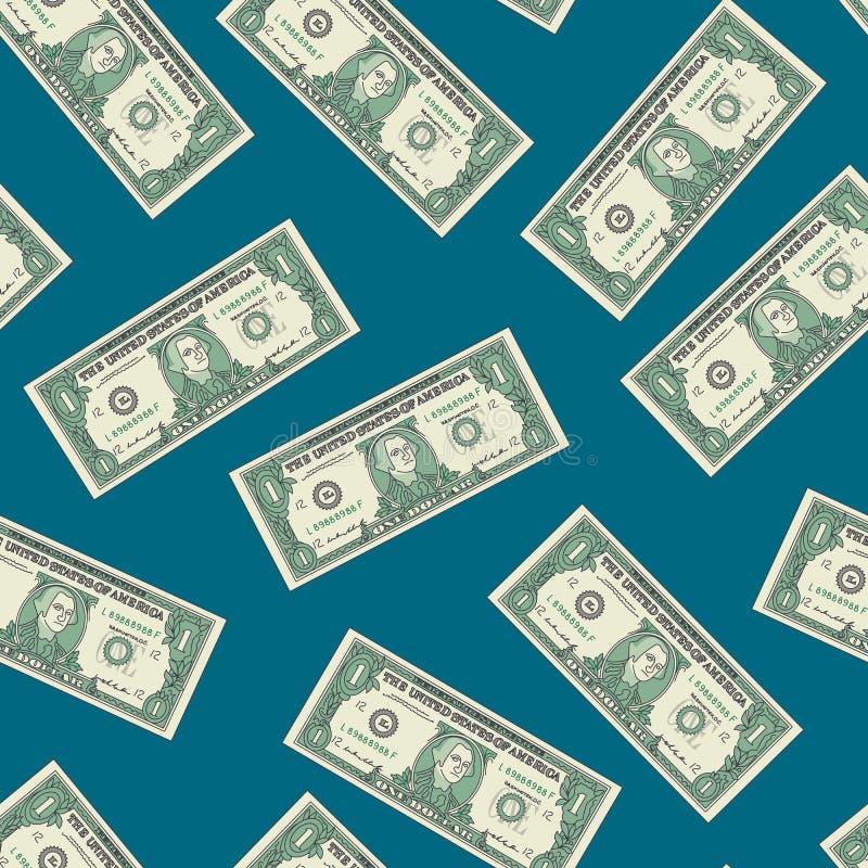 Μπιλ άνευ ραφής υπόβαθρο σχεδίων Banknot ενός δολαρίου r ελεύθερη απεικόνιση δικαιώματος