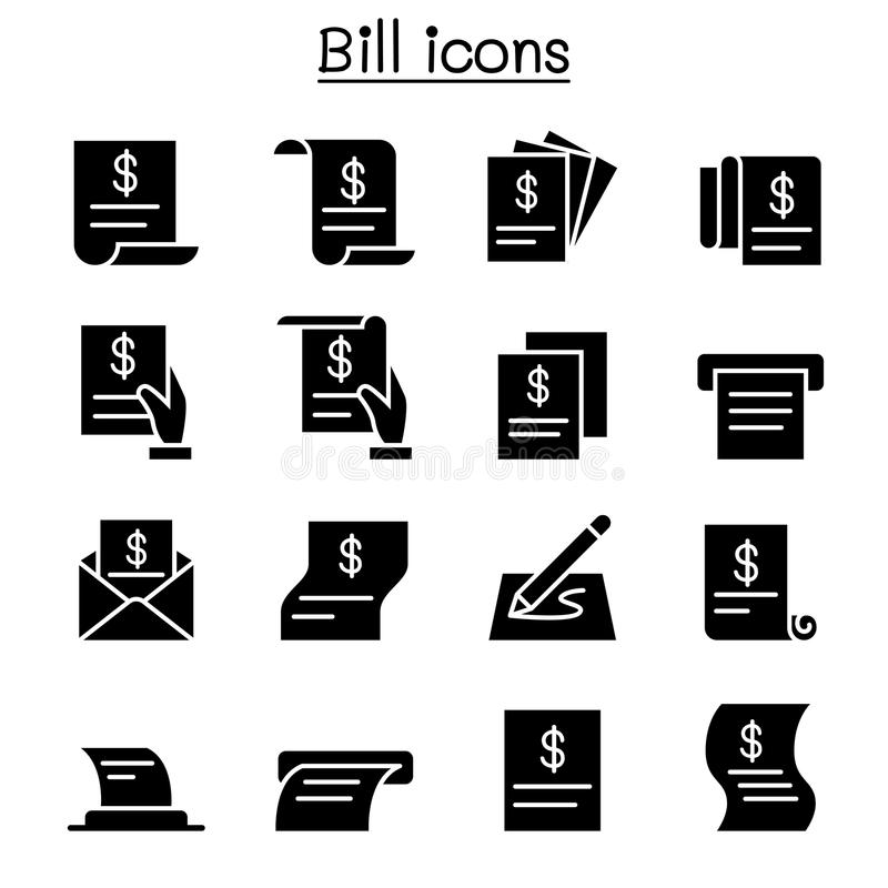 Μπιλ, παραλαβή, τιμολόγιο, σύνολο εικονιδίων συμβάσεων διανυσματική απεικόνιση