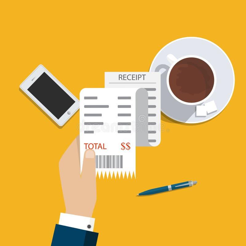 Μπιλ ATM, οικονομικός έλεγχος Εικονίδιο παραλαβών εγγράφου διάνυσμα παραλαβή απεικόνιση αποθεμάτων