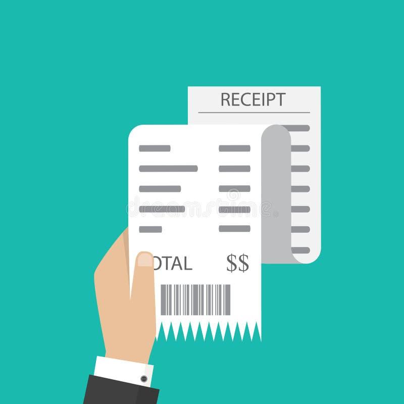 Μπιλ ATM, οικονομικός έλεγχος Εικονίδιο παραλαβών εγγράφου διάνυσμα παραλαβή διανυσματική απεικόνιση