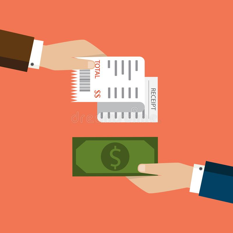 Μπιλ ATM, οικονομικός έλεγχος Εικονίδιο παραλαβών εγγράφου διάνυσμα Παραλαβή ι διανυσματική απεικόνιση