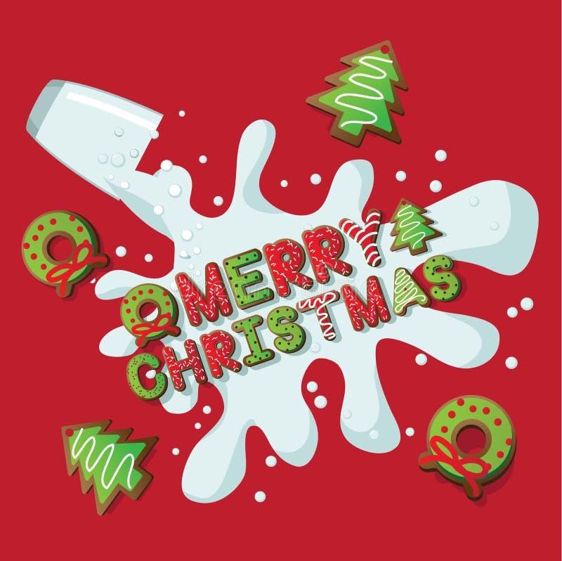 Μπισκότα και γάλα Χαρούμενα Χριστούγεννας ελεύθερη απεικόνιση δικαιώματος