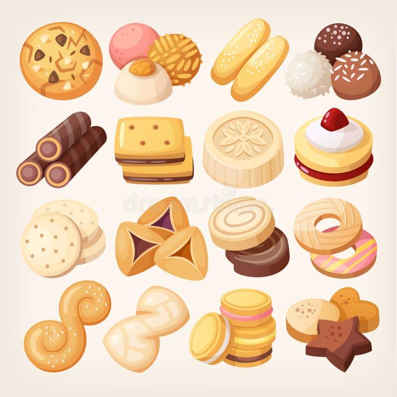 Μπισκότα και εικονίδια μπισκότων καθορισμένα ελεύθερη απεικόνιση δικαιώματος