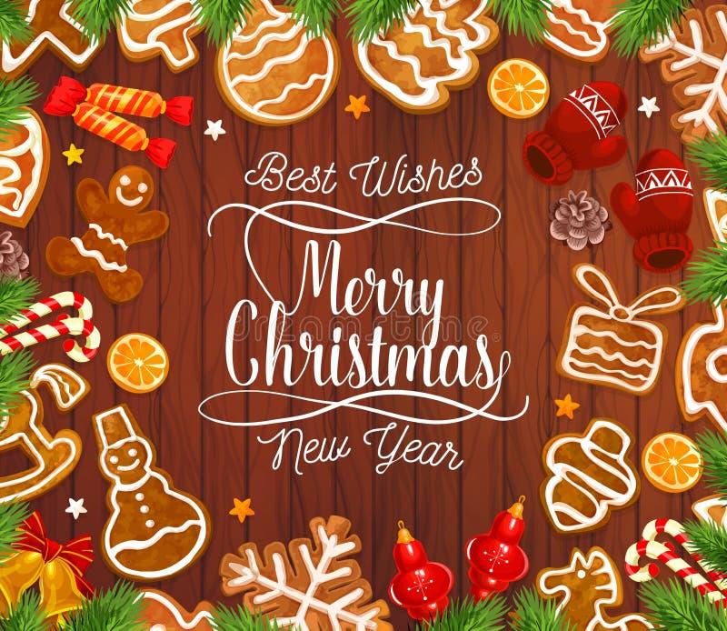 Μπισκότα μελοψωμάτων Χριστουγέννων στο ξύλινο σκηνικό απεικόνιση αποθεμάτων