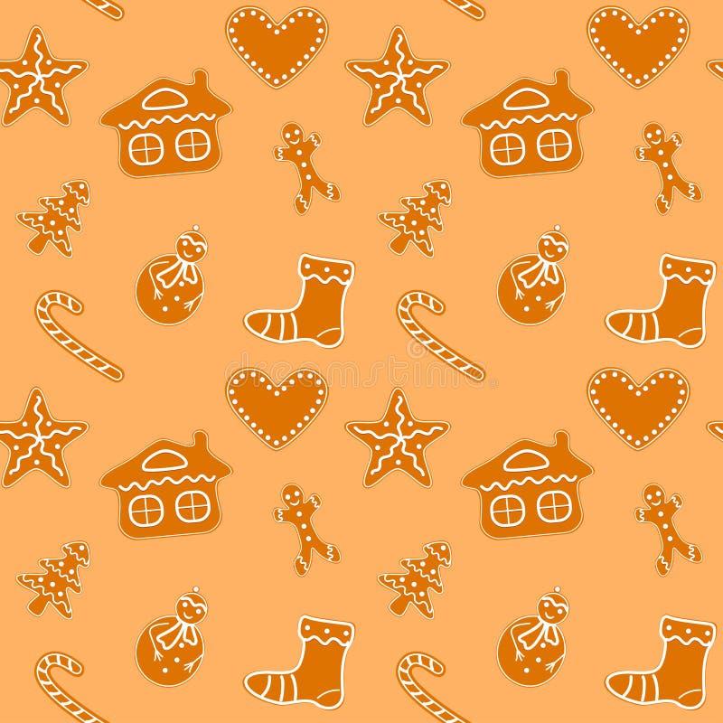 Μπισκότα μελοψωμάτων Χριστουγέννων άνευ ραφής ελεύθερη απεικόνιση δικαιώματος