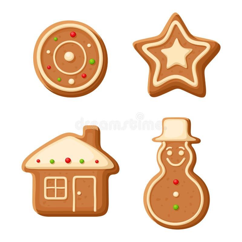 Μπισκότα μελοψωμάτων Χριστουγέννων επίσης corel σύρετε το διάνυσμα απεικόνισης διανυσματική απεικόνιση