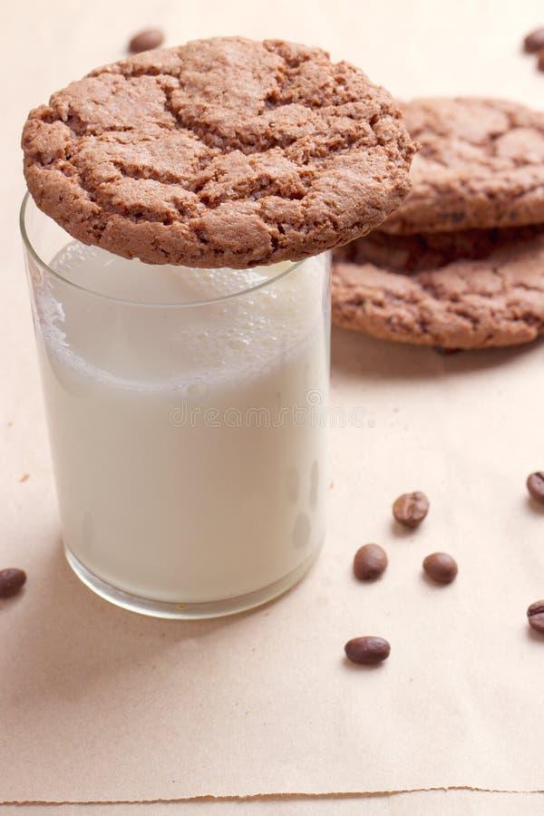 Μπισκότα σοκολάτας με ένα γάλα στοκ εικόνα με δικαίωμα ελεύθερης χρήσης