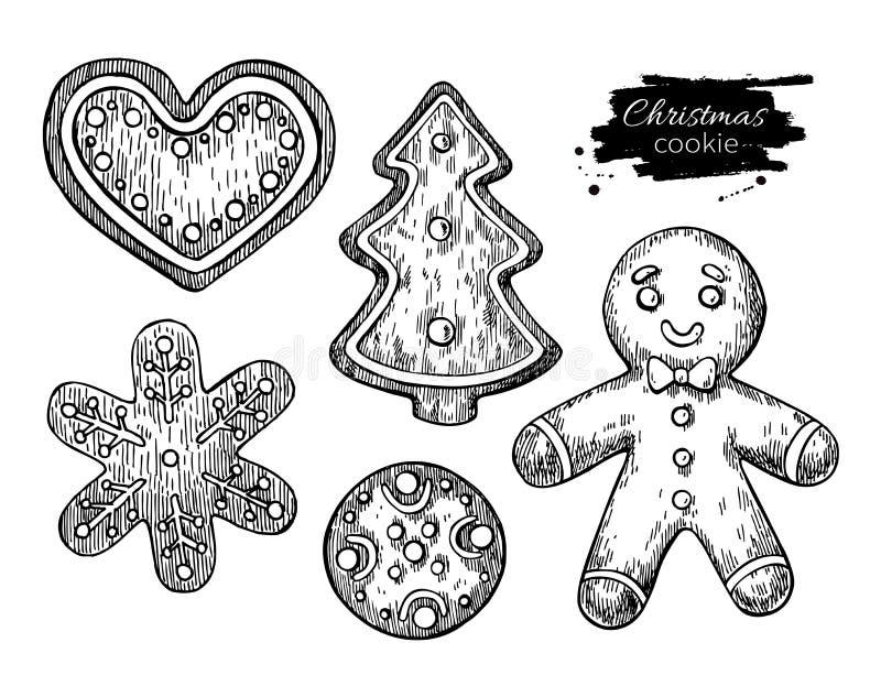 Μπισκότα Χριστουγέννων μελοψωμάτων που διακοσμούνται με την τήξη συρμένο χέρι ελεύθερη απεικόνιση δικαιώματος