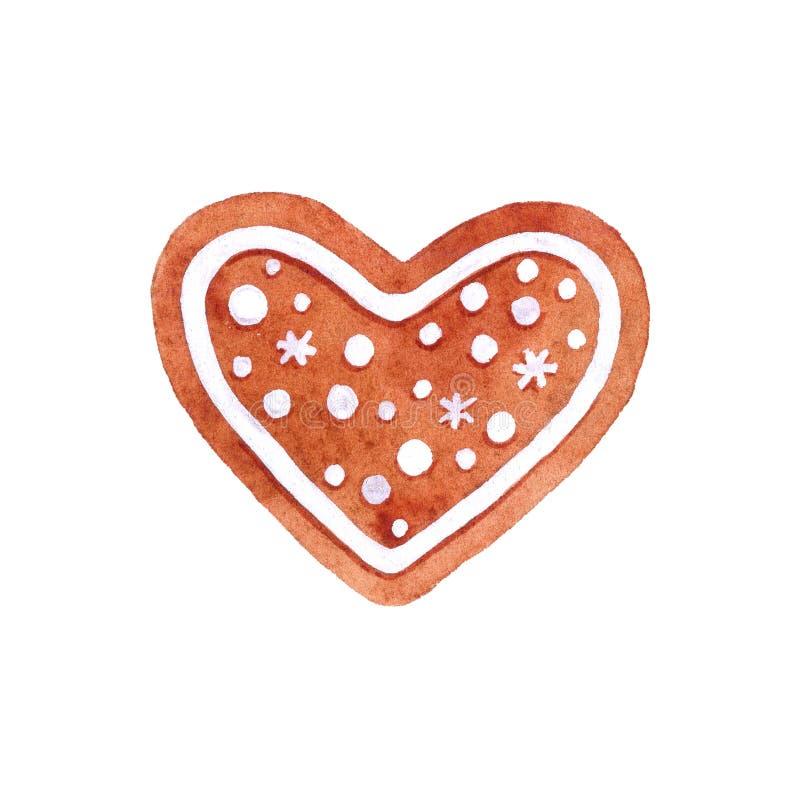 Μπισκότο μελοψωμάτων καρδιών Watercolor διανυσματική απεικόνιση
