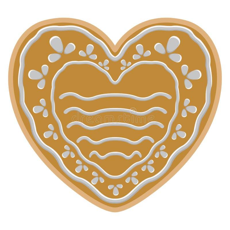 Μπισκότο μελοψωμάτων μορφής καρδιών Χριστουγέννων διανυσματική απεικόνιση