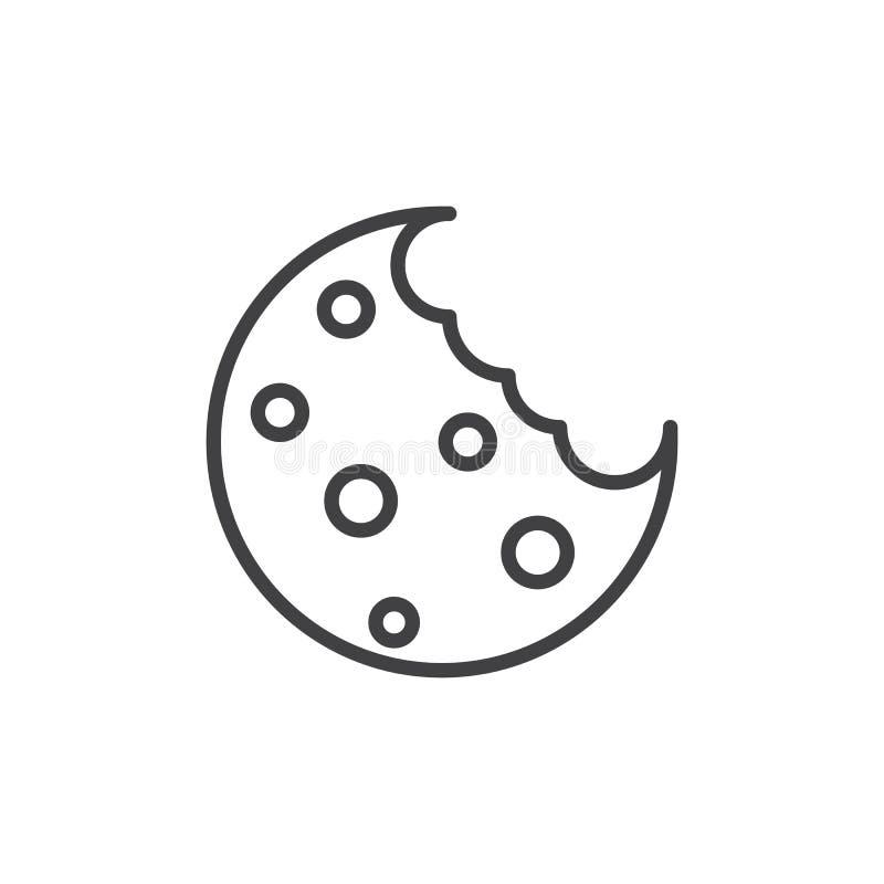 Μπισκότο με το λεπτό εικονίδιο γραμμών τσιπ διανυσματική απεικόνιση