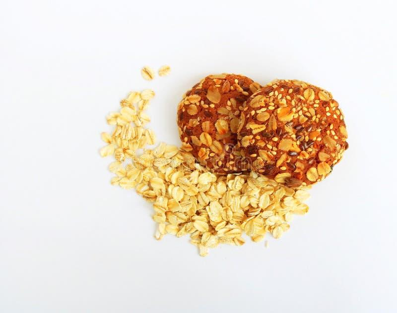 Μπισκότο προϊόντα εικόνας σχεδίου αρτοποιείων μπισκότα νόστιμα Νιφάδες βρωμών Μπισκότα με σταφίδες και πέντε δημητριακά Χρήσιμη κ στοκ φωτογραφία με δικαίωμα ελεύθερης χρήσης